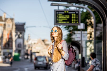 Woman on the tram station