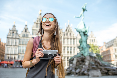 Woman traveling in Antwerpen city, Belgium Stock Photo