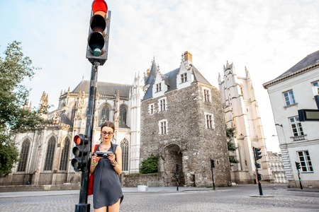 Woman traveling in Nantes city, France
