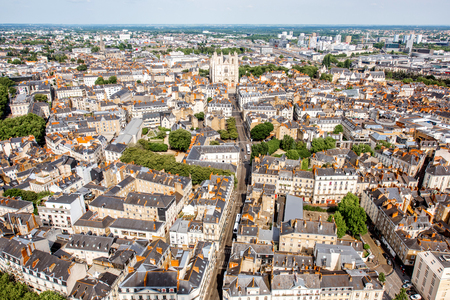 Aerial view on Nantes city in France Banco de Imagens