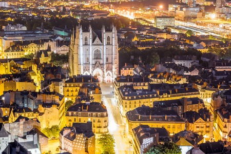 Aerial view on Nantes city in France Stock Photo