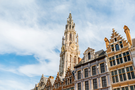 View on the beautiful buildings with the church tower in the center of Antwerpen city in Belgium Stock Photo