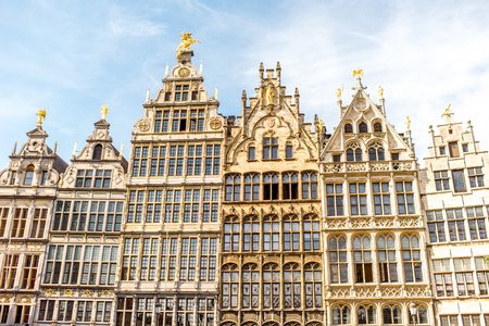 View on the beautiful buildings on the Grote Markt square in Antwerpen city in Belgium Stock Photo