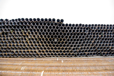Pile of rusty pipes Stock Photo