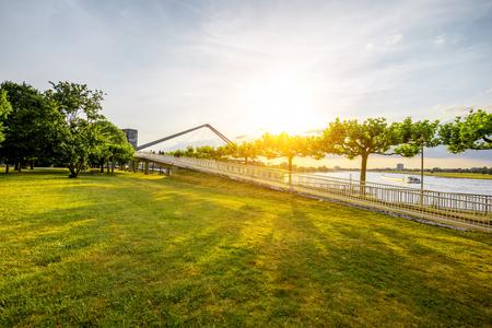 Rhein park in Dusseldorf city