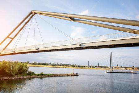 Rhein river in Dusseldorf city Stok Fotoğraf