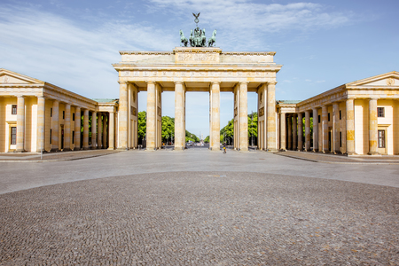 View on the famous Brandenburg gates on the Pariser square during the morning in Berlin city