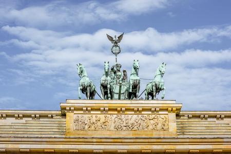 Close-up view on the Quadriga sculpture on the Brandenburg gates in Berlin city