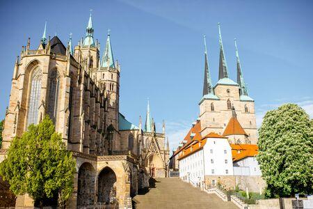 독일의 에르푸르트 (Erfurt)시 스톡 콘텐츠