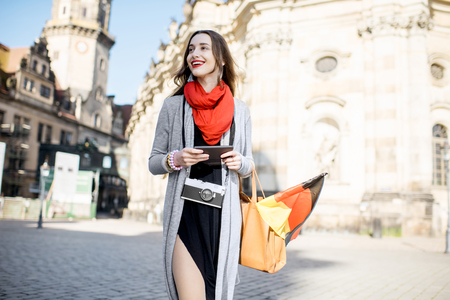 dresden: Woman traveling in Dresden city, Germany Stock Photo