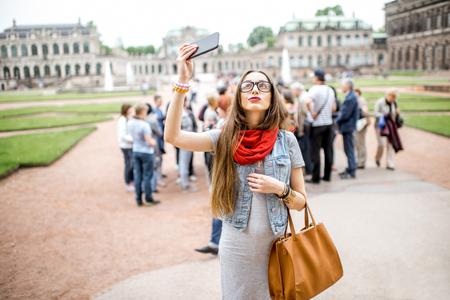 ドイツ ドレスデン市の旅の女性
