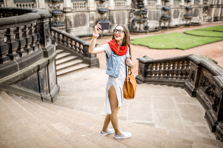 Woman traveling in Dresden city, Germany Stock Photo