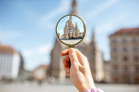 Watching through a magnifying glass on the church of Our Lady in Dresden, Germany Stock Photo