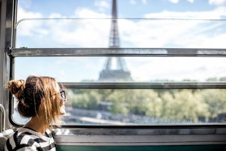 Woman in Paris subway train Stock fotó