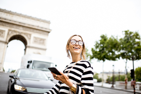 champs elysees: Business woman in Paris Stock Photo