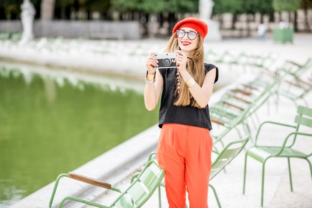 Woman at the park in Paris Stock Photo