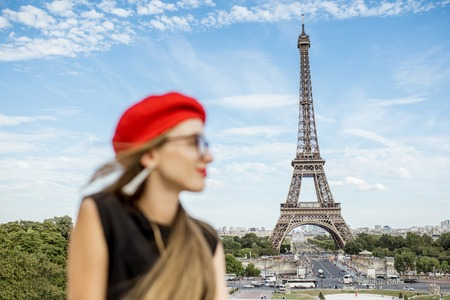 Woman traveling in Paris Stock Photo