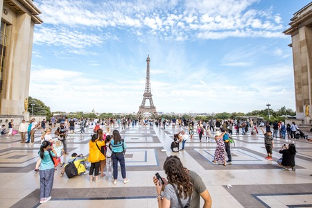 Trocadero place with Eiffel tower in Paris