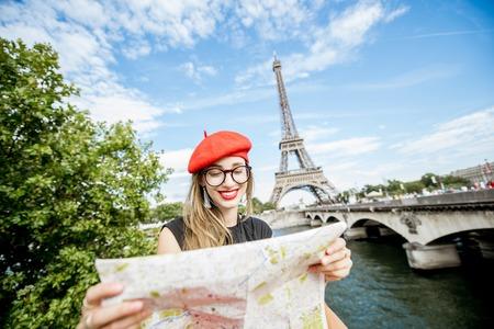 Tourist near the Eiffel tower
