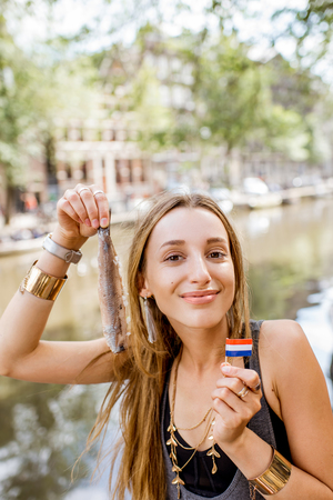 Woman with harring in Amsterdam Imagens
