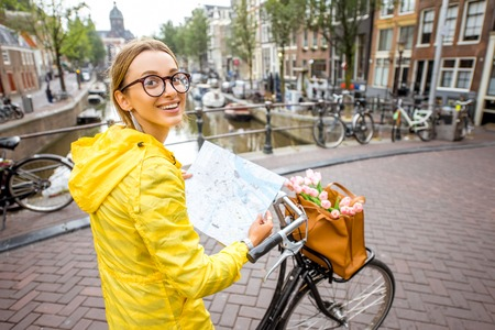 Woman traveling in Amsterdam