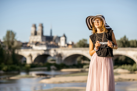 the loire: Woman traveling in Orleans, France