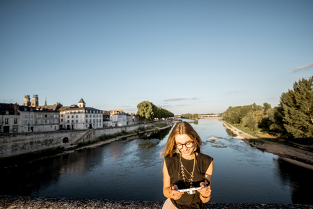 Woman traveling in Orleans, France