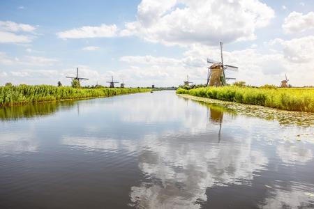 Old windmills in Netherlands Фото со стока