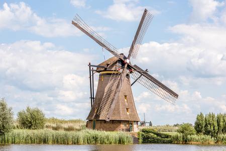オランダの古い風車 写真素材