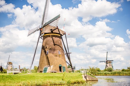 Old windmills in Netherlands Stock Photo