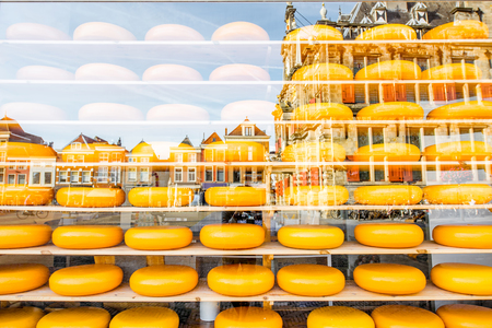 Showcase with dutch cheese Stock Photo