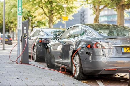 Tesla charging outdoors