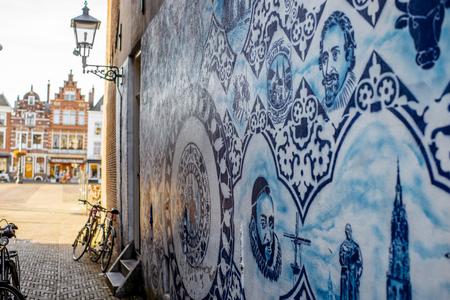 Blue porcelain in Delft town