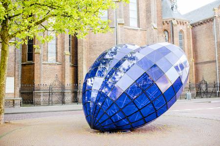 Blue heart sculpture in Delft Editorial