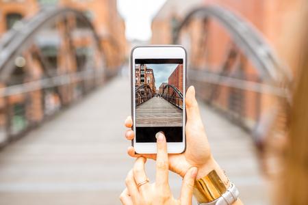 Oude ijzeren brug fotograferen Stockfoto