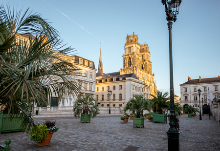 Sunset view on the old town with saint Croix cathedral in Orleans city in France Stock Photo
