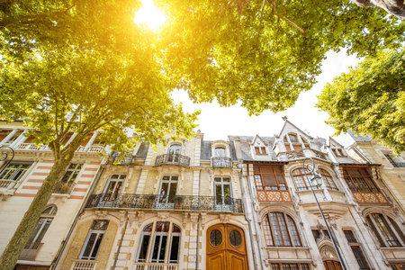 Beautiful old buildings in Vichy city in the Allier department of central France