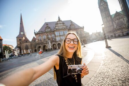 Woman traveling in Bremen city