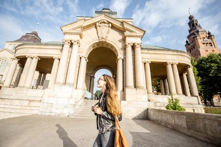 Woman traveling in Szczecin, Poland 版權商用圖片