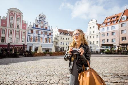 Woman traveling in Szczecin, Poland Stock Photo