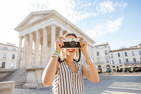 Woman traveling in Nimes Stock Photo