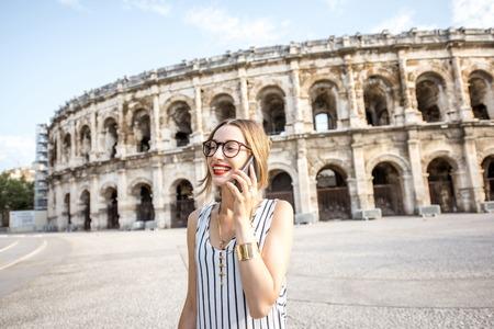 Business woman near amphitheatre