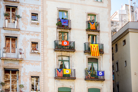 Buildings with Catalonian flags in Barcelona Redakční