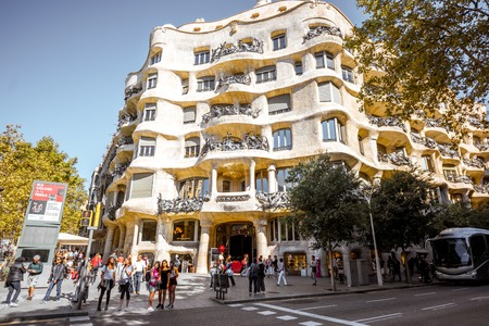 Casa Mila building in Barcelona Editorial