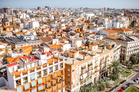Top cityscape view on the old town and city of arts and sciences complex on the horizon in Valencia during the sunny day in Spain Stock Photo - 88772082