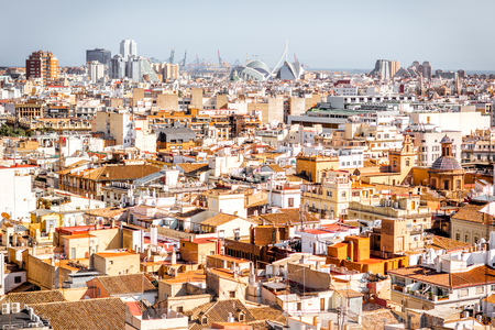 Top cityscape view on the old town and city of arts and sciences complex on the horizon in Valencia during the sunny day in Spain Stock Photo
