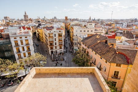 Aerial cityscape view from Serranos towers on the old town of Valencia city in Spain Stok Fotoğraf