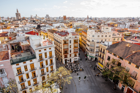 Aerial cityscape view from Serranos towers on the old town of Valencia city in Spain Standard-Bild