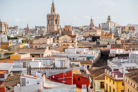 Aerial cityscape view on the old town with cathedral tower in Valencia during the sunny day in Spain 版權商用圖片