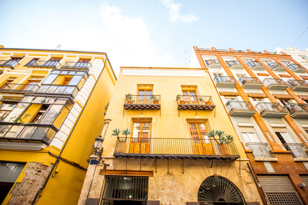 View on the beautiful residential building front at the old town of Valencia city in Spain 版權商用圖片